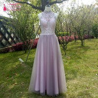 A Line Long Prom Dress Real Photos Crystal Sequins Evening Prom Gown 2017 Country Style TANYA