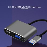 USB3.0 to HDMI VGA Adapter 4K HD 1080P Multi Display 2 in 1 USB to HDMI Converter Audio Video Cable For Macbook Computer