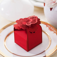 50 For Pack FLower Rose Wedding Sugar Boxes Party Decorations Candy Package Paper Birthday Gift Baby