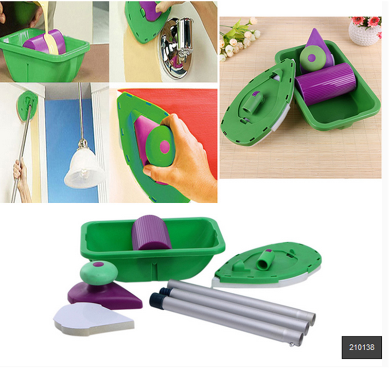 9pcs Sponge Point And Paint Rollers and Tray Set Household Painting Brush Decorative Tools Cushion for Wall Decoration