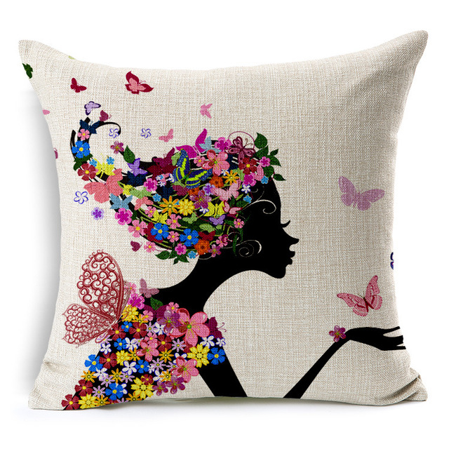 Magic Fairy Cushion Cover Watercolor Flower Tree Pillow