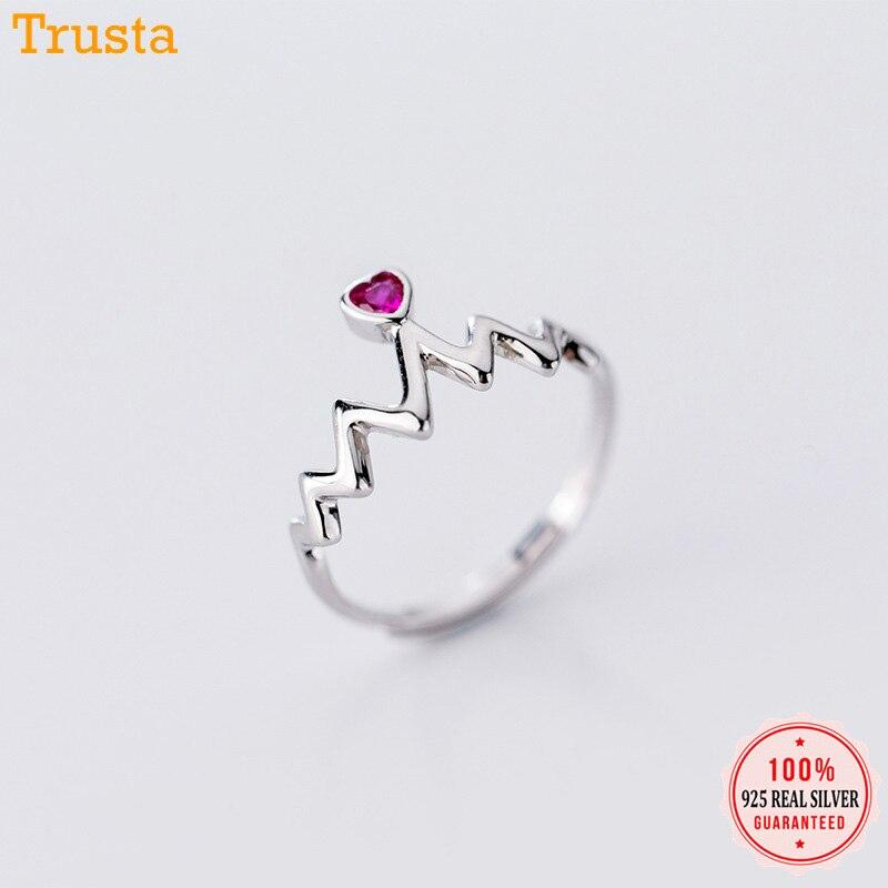 Trustdavis 100% 925 Sterling Silver Fashion Lightning Wave Pink CZ Opening Rings Size For Women Girls Kids Ladys Jewelry DA312