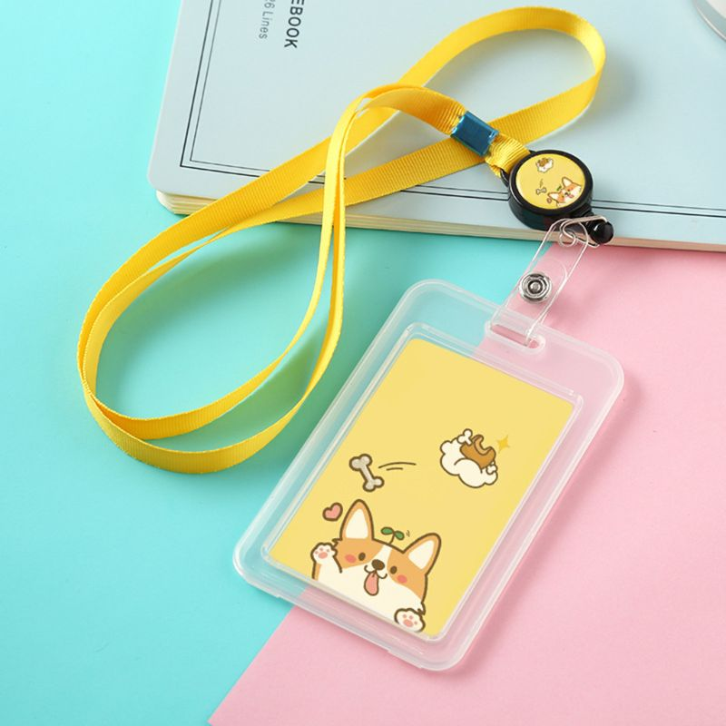 Cartoon Cute Plastic Holder Case Badge Retractable Reel Neck Strap Lanyard Bus ID Card For Schools Companies