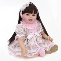 Моделирование Коллекционные Куклы Реального Ребенка Силиконовые Возрождается Кукла 22 Дюймов длинные Волосы Парики Ручной Работы Девушки