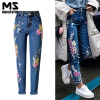 Mooishe Spring Boyfriend Women Embroidery Mom Jeans High Waist Bird Floral Embroidery Casaul Women Denim Jeans