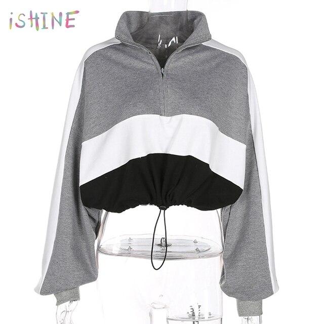 Harajuku Zip Up Color Blocking Cropped Sweatshirt Women Short