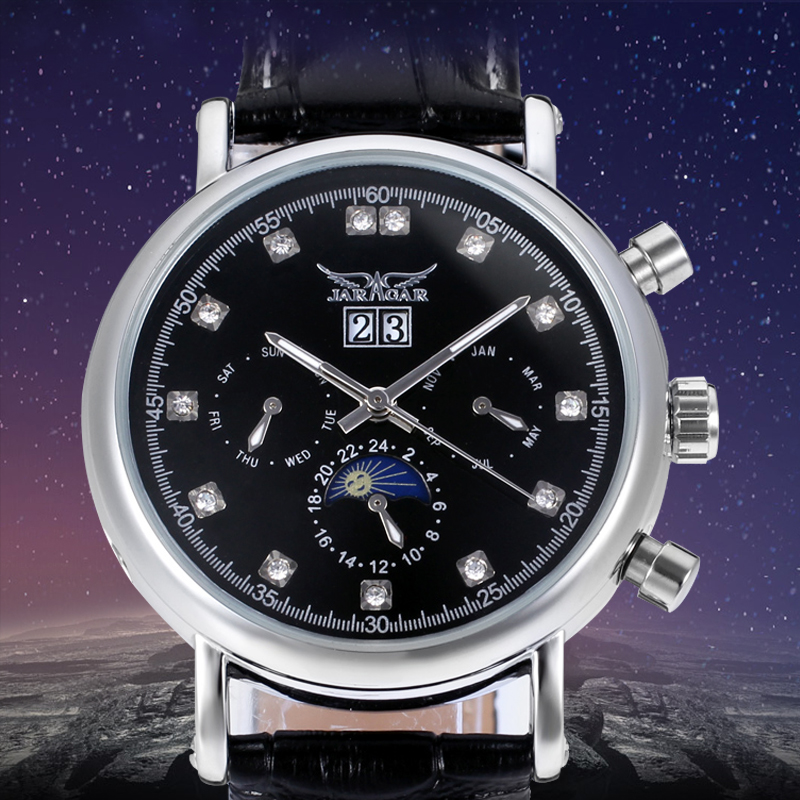 High-grade Moon Phase Auto Date Week Month Day-night Watch Men Luxury Brand Automatic Jargar Montre Gift Bo how high the moon
