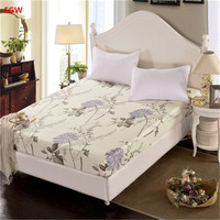 Home textile 1 pc flor folha de cama 100% algodão capa de colchão lençol gêmeo completa queen size roupas de cama colcha rosa azul