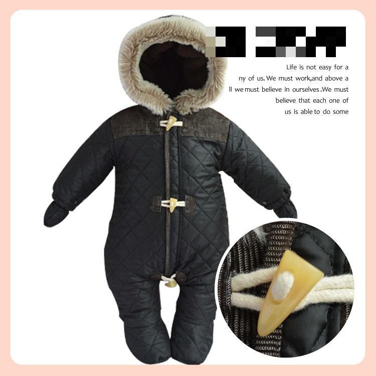 49849177f83a Brand Baby Thick Rompers Winter Kids Boys Fur Overalls Snowsuit Girl ...