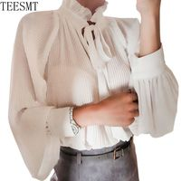 2018 runway Elegant Office Ladies Ruffled Chiffon Blouses Women Tops Bows Pleated Chiffon Shirt White Women Vintage Shirts