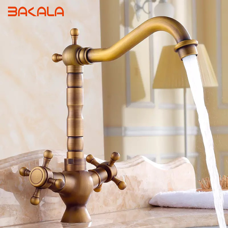 US $49.01 22% OFF|Free shipping Antique Two handle faucet copper Bathroom  Sink Faucets Countertop basin kitchen faucet GZ 7305-in Basin Faucets from  ...
