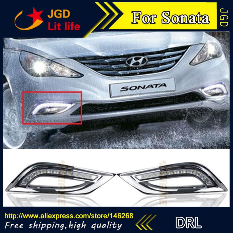 Free shipping ! 12V 6000k LED DRL Daytime running light for Hyundai Sonata 2011 2012 fog lamp frame Fog light Car styling