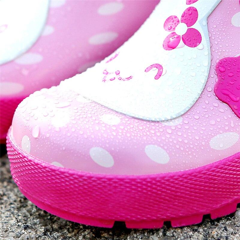 Детская резиновая обувь для девочек; непромокаемые сапоги с рисунком розового кролика; детская обувь для девочек; модные Нескользящие водонепроницаемые ботинки - 4