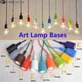 Colorful E27 LED Bulb DIY Lamp Base Silicone Pendant Light Holder with 100cm Cord Ceiling Base Led Light Accessories for Home