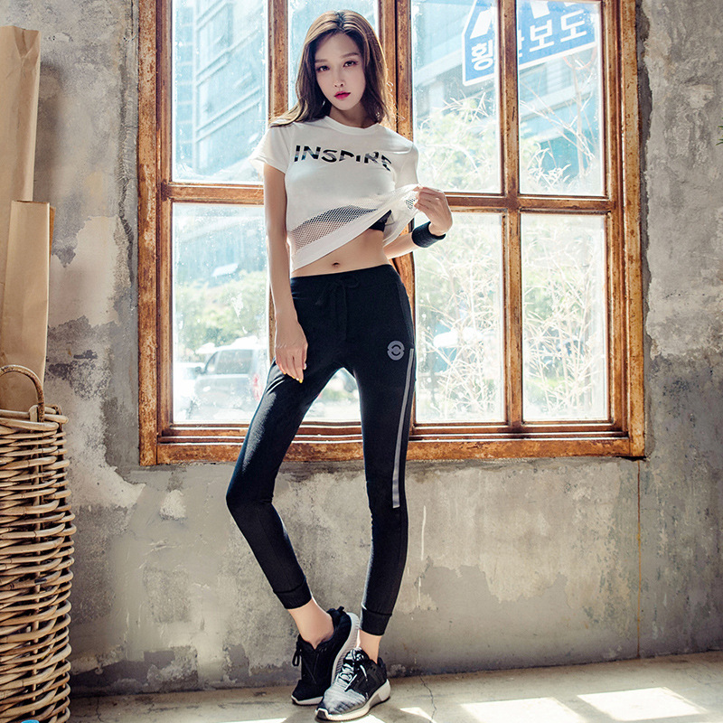 Summer Women Sportswear Sweatsuit Mesh Sport Top Sweatshirt pant Running Jogger Casual Fitness Training Workout Set Tracksuit in Trainning Exercise Sets from Sports Entertainment
