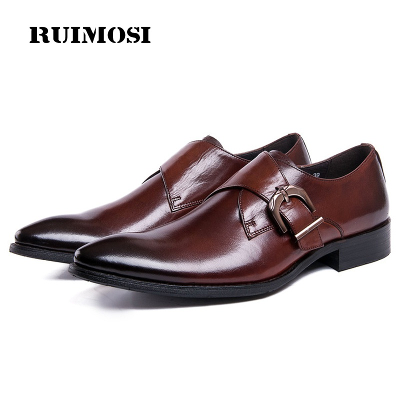 RUIMOSI New Pointed Toe Man Monk Formal Dress Shoes Buckle Strap Genuine Leather Male Oxfords Men's Wedding Bridal Flats DK83
