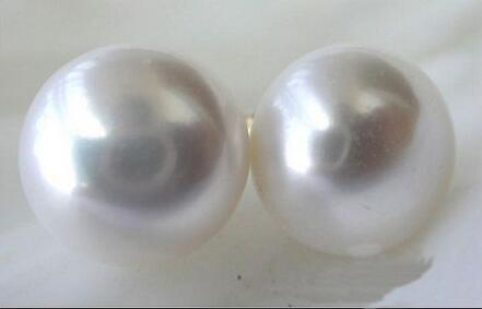 Wholesale price ^^^ natural AAA 14-15 mm South Sea White Pearl Earrings 14 YELLOW GOLD цена и фото