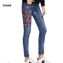 Fire Snake Bee Embroidery Jeans Women 2017 Autumn Mid-Waist Casual Skinny Pencil Denim Pants Pantalon Femme TGJ641