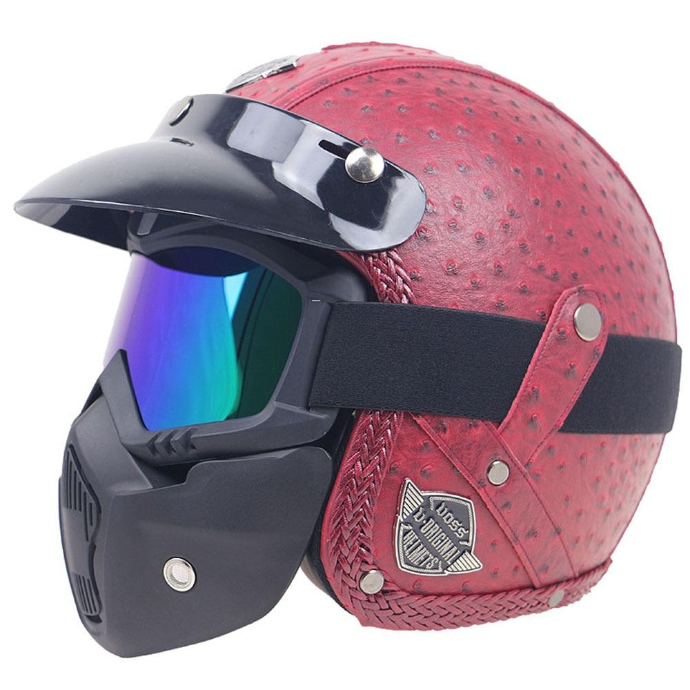 Retro Windproof and Sandproof 3\/4 Motorcycle Bike Full Face Helmet PU Leather Helmets Motorcycle