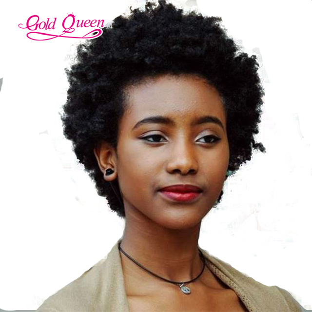 150% Natural Afro Hair Wigs Front Lace Brazilian Short