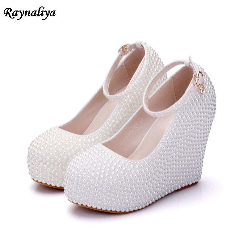 Rhinestone Flower White Pearl Wedding Shoes Stiletto Heel 11cm Crystal 2018 Bridal Prom Bridesmaid Shoes For Ladies XY B0049