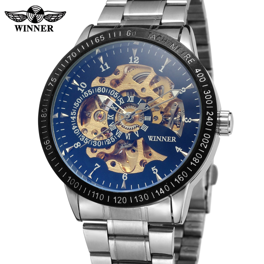 Mens Watches top brand luxury WINNER Fashion Skeleton Clock Men Classic Sport Watch Automatic Mechanical Watch Relogio Masculino winner men s wrist watch top brand luxury men military sport clock automatic mechanical watches male skeleton sport clock 123
