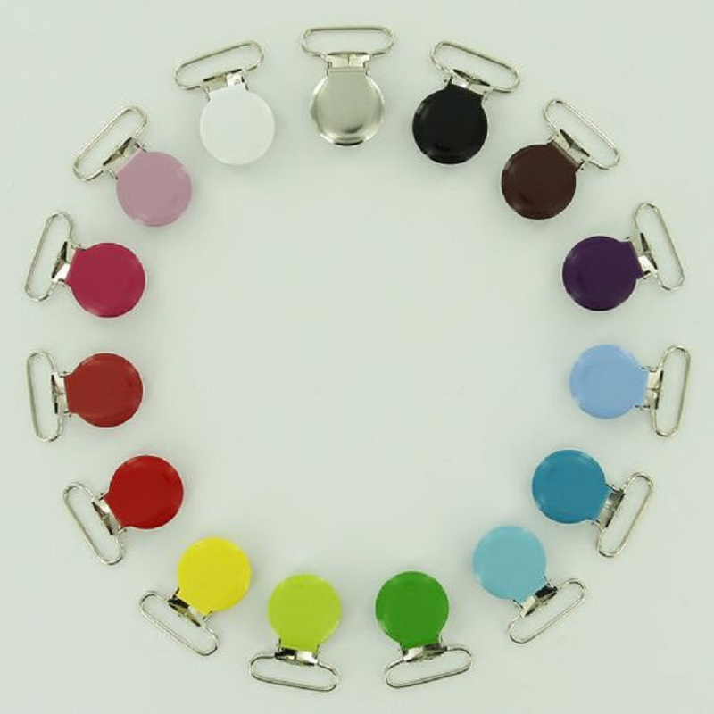 15PCS Metal Round Baby Pacifier Clip Holder Nipple Dummy Holder For Infant Colorful DIY Funny Pacifier Chain