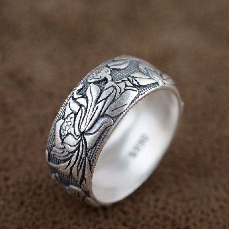 FNJ 925 Sterling Silver Ring Flower Anillos Punk Good Luck Romantic S990 Thai Silver Rings For Women Men Jewelry Big Size