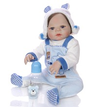 55 CM bebe reborn toddler boy doll Silicone vinyl body Lifelike Baby Bonecas toys with soft plush baby clothes for girls gift