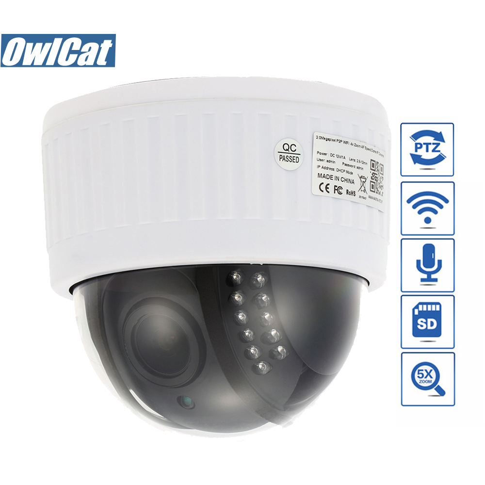 HD 1080P Indoor Speed Dome PTZ IP Camera Wifi 5X Zoom Microphone Audio 2MP SD Slot IR Night Onvif P2P Security CCTV Wifi Camera owlcat hd 1080p dome ptz ip camera wifi 5x optical zoom audio microphone security cctv wifi camera sd slot ir night onvif2 4 p2p