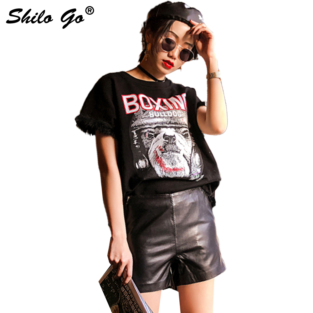 Leather Shorts Womens Spring Fashion Sheepskin Genuine Leather Shorts High Waist Concise Lady Office Side Zipper Pencil Shorts
