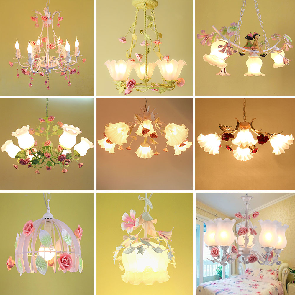 HGHomeart 5/6/8head Farmhouse Style Led Chandeliers for The Bedroom Luminaria 110-220V E27 Home Lighting Wrought Iron Chandelier
