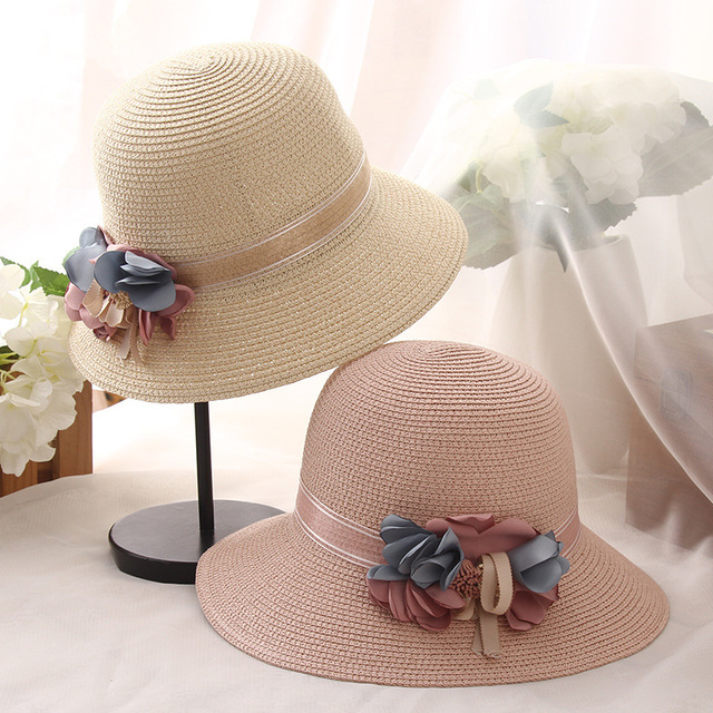 700e2e393f6 Bowknot Straw Hats for Women Summer Beach Fashion Sun Hat Floppy Wide Brim  Foldable Panama Chapeau Femme Wide Brim Hat flower