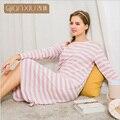 Qianxiu Осень Женщины пижамы Хлопка С Длинным Рукавом полосатый Ночные Сорочки Женские Удобные Пижамы