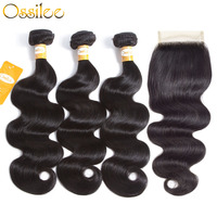 Ossilee Body Wave Bundles With Closure 4pcs Lot Brazilian Hair Weave Bundles With Closure Non Remy