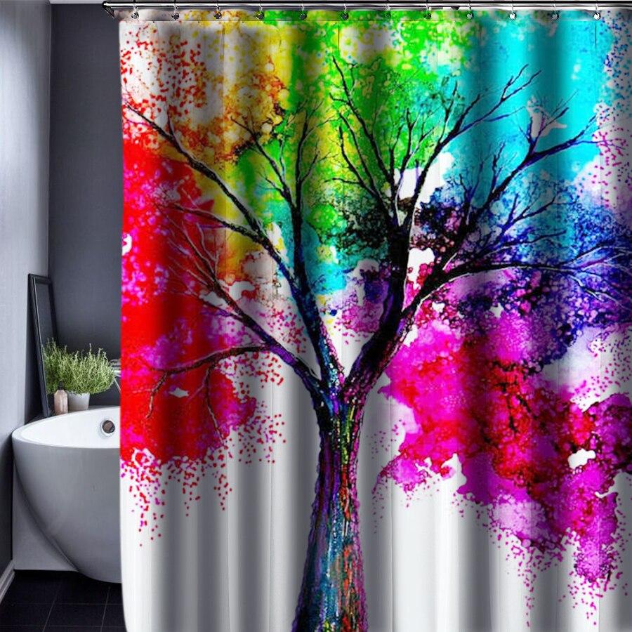 Colorful Plant Customized Shower Curtain Bathroom Waterproof Bathroom Fabric 165x180cm Shower Curtain