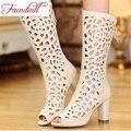 Verano de cuero genuino botas largas 2016 de la llegada blanco colores mujer hollow botas largas zapatos peep-toe de las mujeres zapatos de tacón alto botas de verano