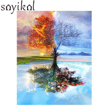 Oil Painting Frame Four Seasons Tree Landscape DIY Painting By Numbers Kit Paint On Canvas Painting Calligraphy For Home Decor(China)