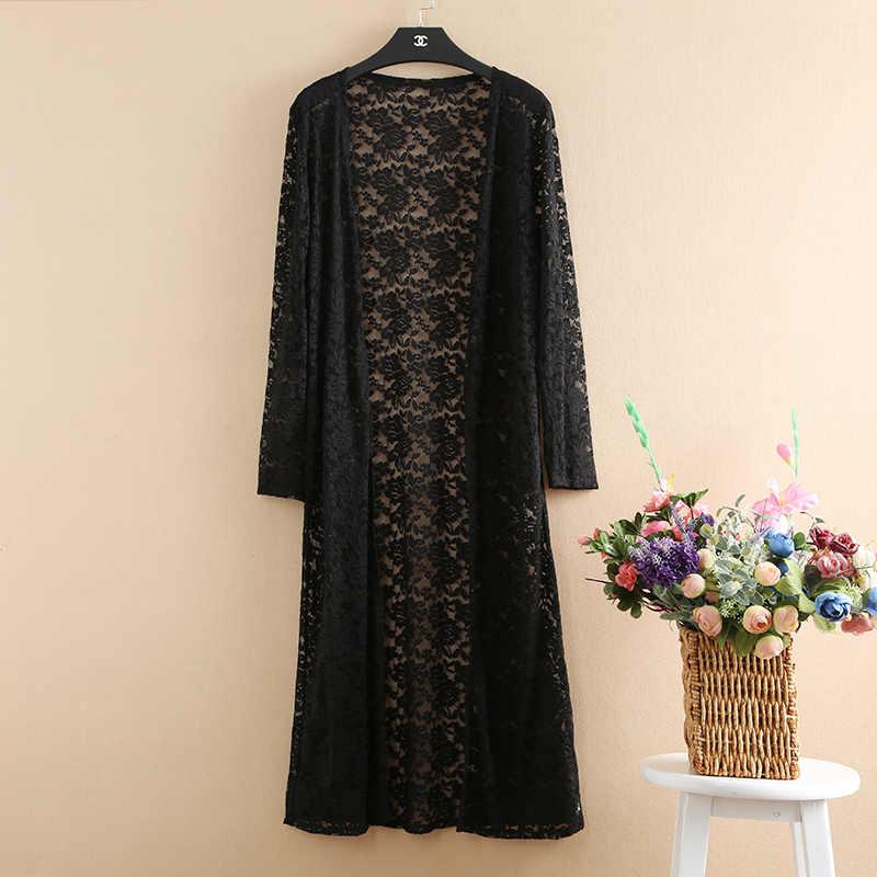 d7de52852ef ... Kimono Cardigan Women Long Lace Womens Tops And Blouses Plus Size 5XL Long  Sleeve Summer 2018 ...