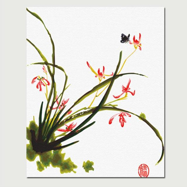 mahuaf x268 abstrakte lgem lde by zahlen gerahmtes 40x50 cm jahreszeiten orchideen blumen. Black Bedroom Furniture Sets. Home Design Ideas