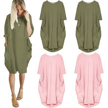 YANDW Pink Green Dress Sleeve Casual Women Baggy Shirts Italian Lagenlook  Short Boho Soft Cotton Stretch Loose Pocket Plus Size e93851918fb3