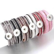 10 pcs/lot bouton pression bijoux bricolage 18mm boutons pression Bracelet cristal cuir aimant Bracelet longueur 40 CM boutons bijoux