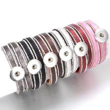 10 unids/lote botón de presión joyería DIY 18mm Snap pulsera de botones de cuero de cristal imán pulsera longitud 40CM botones joyería