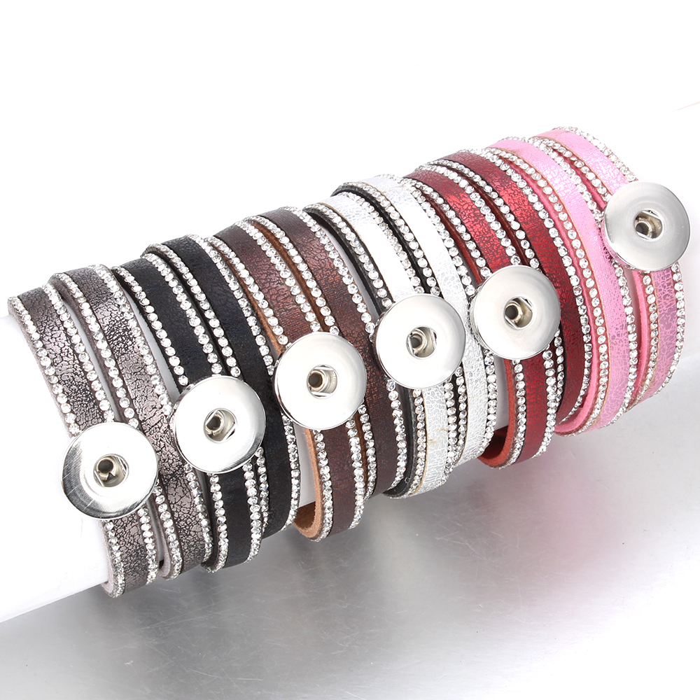 10pcs/lot Snap Button Jewelry DIY 18mm Snap Buttons Bracelet Crystal Leather Magnet Bracelet Length 40CM Buttons JewelryCharm Bracelets   -