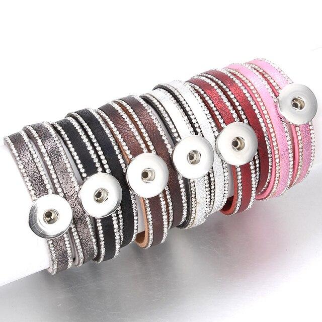 10pcs/lot Snap Button Jewelry DIY 18mm Snap Buttons Bracelet Crystal Leather Magnet Bracelet Length 40CM Buttons Jewelry
