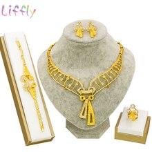 купить Fashion Jewelry Sets Wedding Engagement Jewelry Cute Sweet Bow Crystal Necklace Earrings Ring Bracelet Dubai Jewelry Sets по цене 629.82 рублей