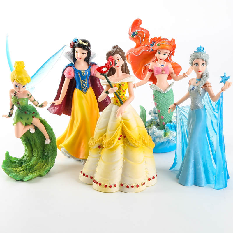 Disney Kid Toys 5 Pcs/Set 10-13cm Princess Frozen Elsa Mermaid Snow White Flower Fairy Pvc Action Figure Collectible Model Doll disney 10cm q version snow white princess alice mermaid figure alice in wonderland ariel the little mermaid pvc figure model toy