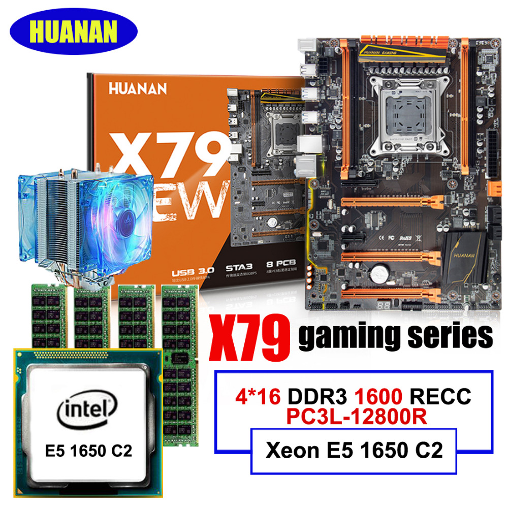 HUANAN ZHI deluxe X79 LGA2011 gaming motherboard with M.2 NVMe CPU Intel Xeon E5 1650 C2 3.2GHz with cooler RAM 64G(4*16G) RECC цена