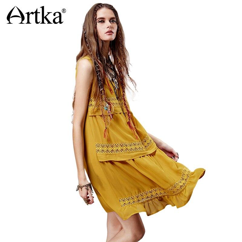 Artka 2015 женская ретро новая коллекция летней одежды в богемском стили ажурная резьба без рукавов высококачественное облегающое платье LA14558X