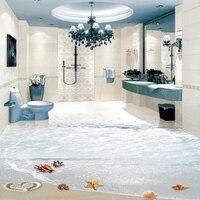 3D Floor Mural PVC Wallpaper Modern Beach Starfish Conch 3D Floor Tile Painting Bathroom Kitchen Waterproof Home Decor Stickers